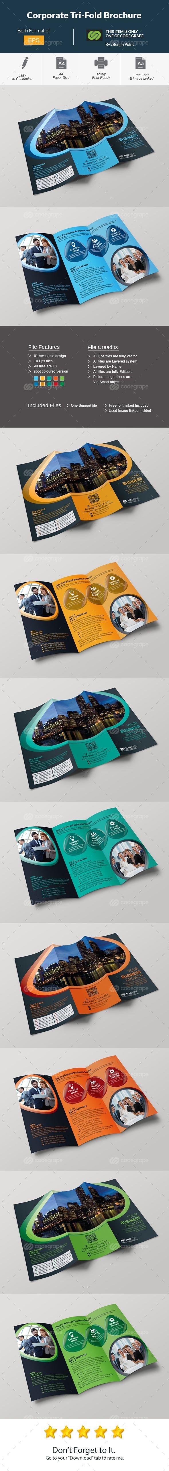 Corporate Tri-Fold Brochure on @codegrape. More Info: https://www.codegrape.com/item/corporate-tri-fold-brochure/10828