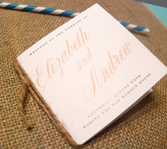 wedding program book, mini program book, fall wedding, outdoor wedding, church wedding, order of service on Etsy, $1.00