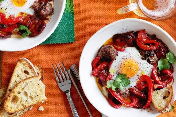 This Moroccan eggs and sausages dish can be served up in half an hour - just have your ingredients and kitchen tools ready!