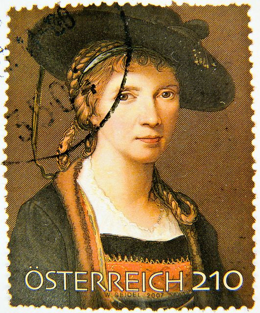 Stamp - Austria 2.10  Angelika Kauffmann (Austrian-Swiss neoclassical paintress 1741-1807, self portrait)
