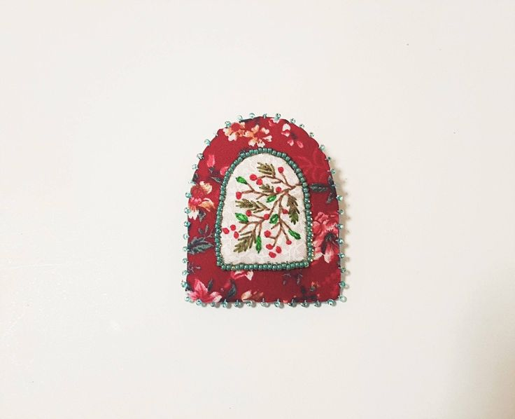 Excited to share the latest addition to my #etsy shop: Christmas Red Brooch. Winter Berries Embroidery. Beaded Pin. Hand Embroidered. Bead Decoration. Pine Needles Embroidery. http://etsy.me/2j4DXLN