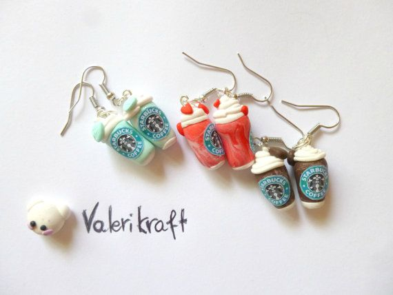 Starbucks earrings, handmade with Fimo. Orecchini Starbucks, creati a mano in Fimo. #fimo #clay #polymerclay #earrings #orecchini #earrings #starbucks #coffee #diy #handmade #inspiration #onlineshop #etsy #shop #love