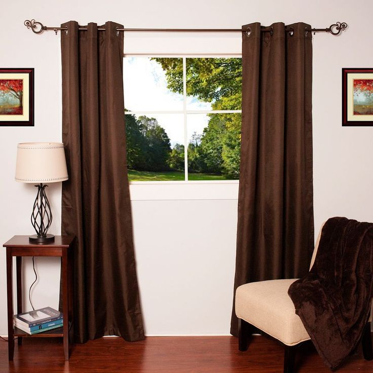 N Faux Silk Blackout Thermal Drape Panels (Set of 2) - 76 x 84 (Brown) (Polyester, Solid)