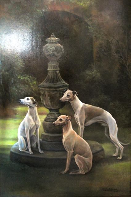 Whippets - oil on panel by Terry Waldron