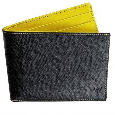 WURKIN STIFFS RFID BLOCKING BLACK & YELLOW WALLET WITH OUTSIDE CARD POCKET