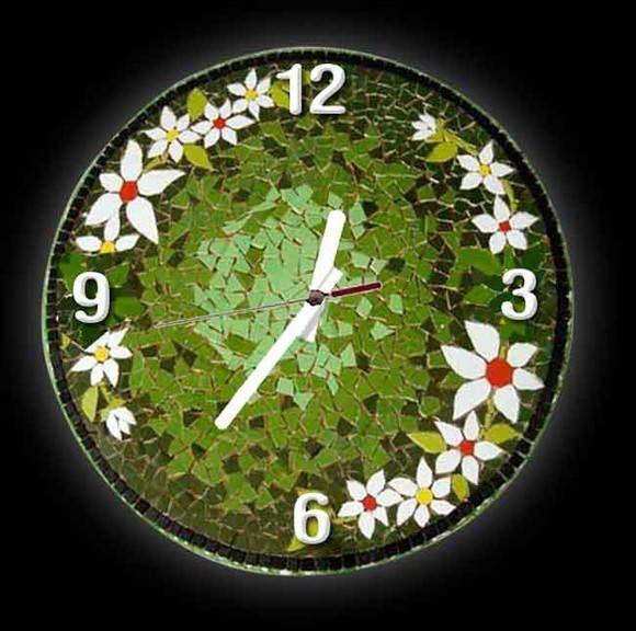 Relógio Floral | Cris Mosaico | 1E59FB - Elo7