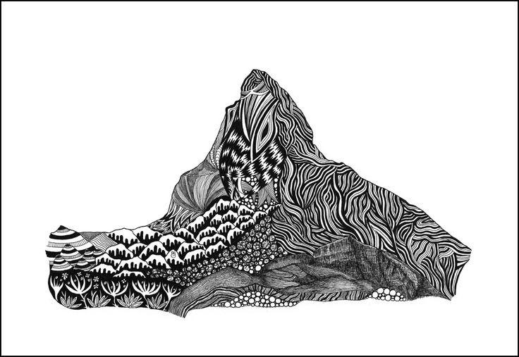 Matterhorn Tuschezeichnung Copyright by mgbergbilder / Gabriele Maier