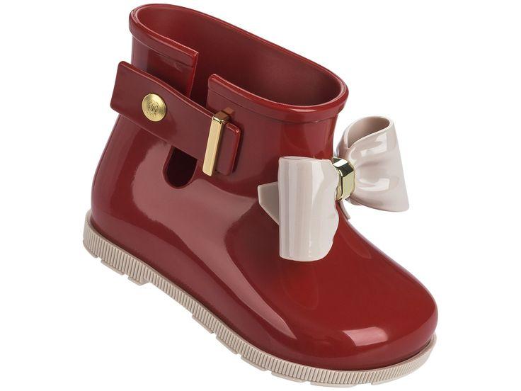 Mini Melissa Sugar Rain Bow Rain Boots - Burgundy #babyrainboots