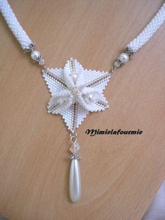Défi novembre - collier etoile des neiges - fleur trillium swarovski
