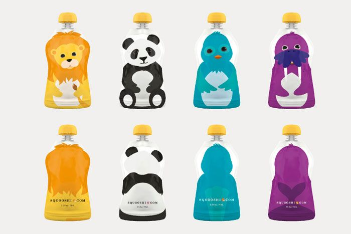 "Squooshi Reusable, flexible pouches for ""squishy food"" - super cute for kids, and functional, too!!"
