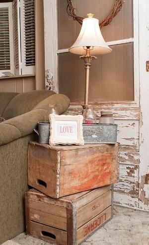 Vintage Crates as side tables ~ have several old wooden milk crates up in the studio, now is the time to put them to good use!