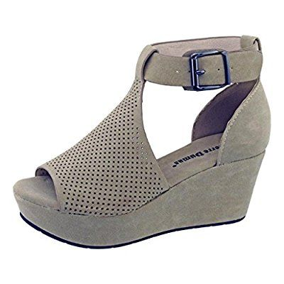 6377cbd68e9 Pierre Dumas Natural-4 Women s Cutout Open-Toe Ankle Strap Platform Wedge  Sandals