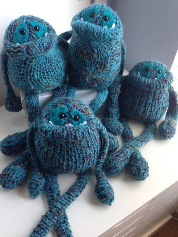 Smug Monster one of a kind plush sculpt doll made from sweaters