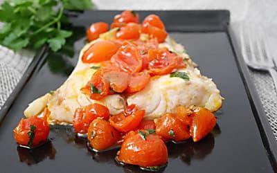 Filetto di ombrina in umido con pomodorini