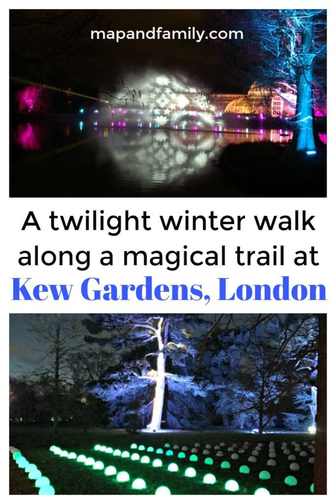 Christmas at Kew Gardens, London for families. Illuminated twilight walking trail, light and sound displays, laser show, funfair, food and drink.   Copyright©2017 reserved to photographer via mapandfamily.com