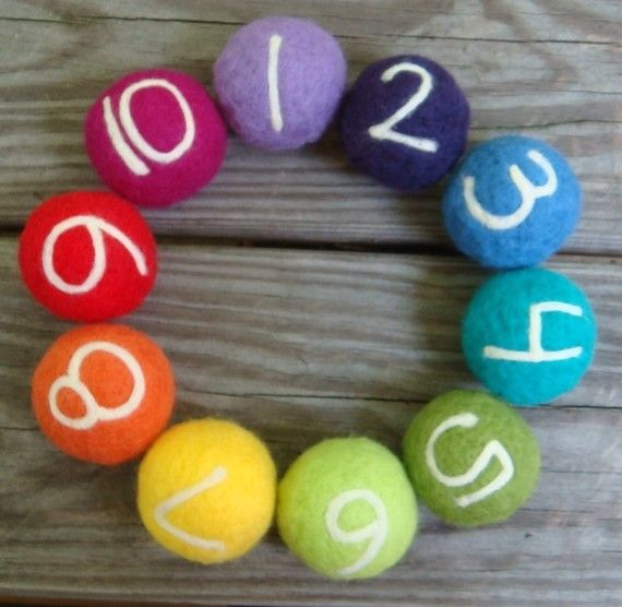 needle felted counting balls