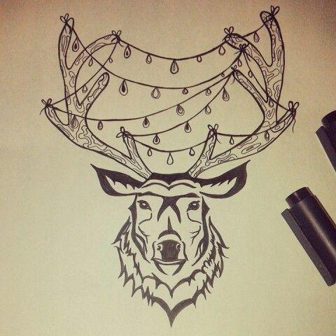 Deer head. Freehand. My design. Tattoo idea.