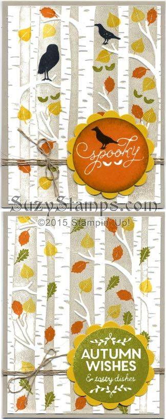 Stampin' Up! Cards - 2015-10 Class - Halloween or Thanksgiving, Among the Branches stamp set and Woodland Embossing Folder