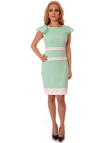 Dámské elegantní šaty s volánky RADEKS - světle zelená
