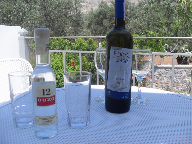 Chilled ouzo and white wine on the terrace at George's Villas