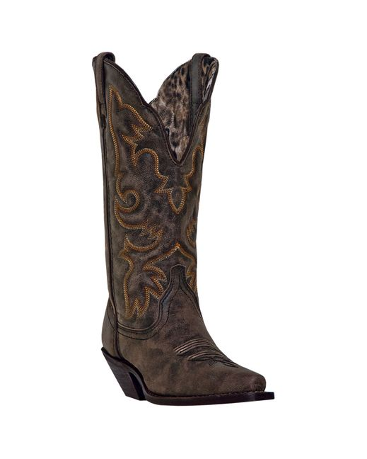 Laredo Women's Access Deep Dip Cowboy Boot - Black / Tan
