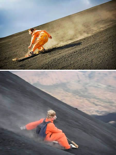 Go volcano boarding, Nicaragua. Racing down an active 2,380 ft volcano at speeds of 50 mph with only a board for protection.