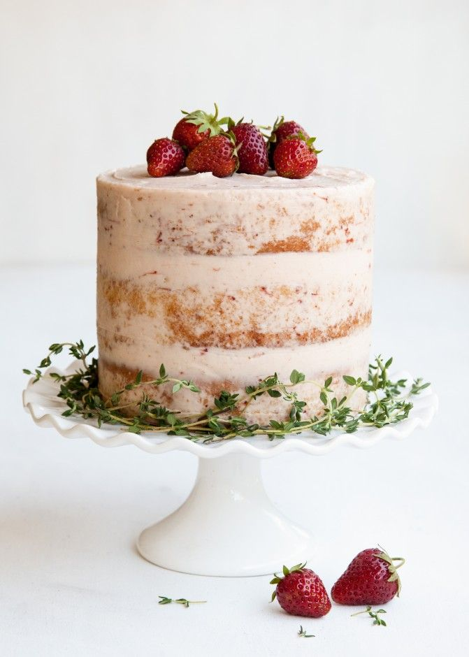lemon ricotta cake + lemon thyme syrup + strawberry cheesecake filling