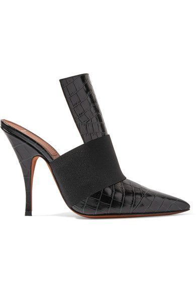 Givenchy - Elastic-trimmed Croc-effect Leather Mules - Black - IT