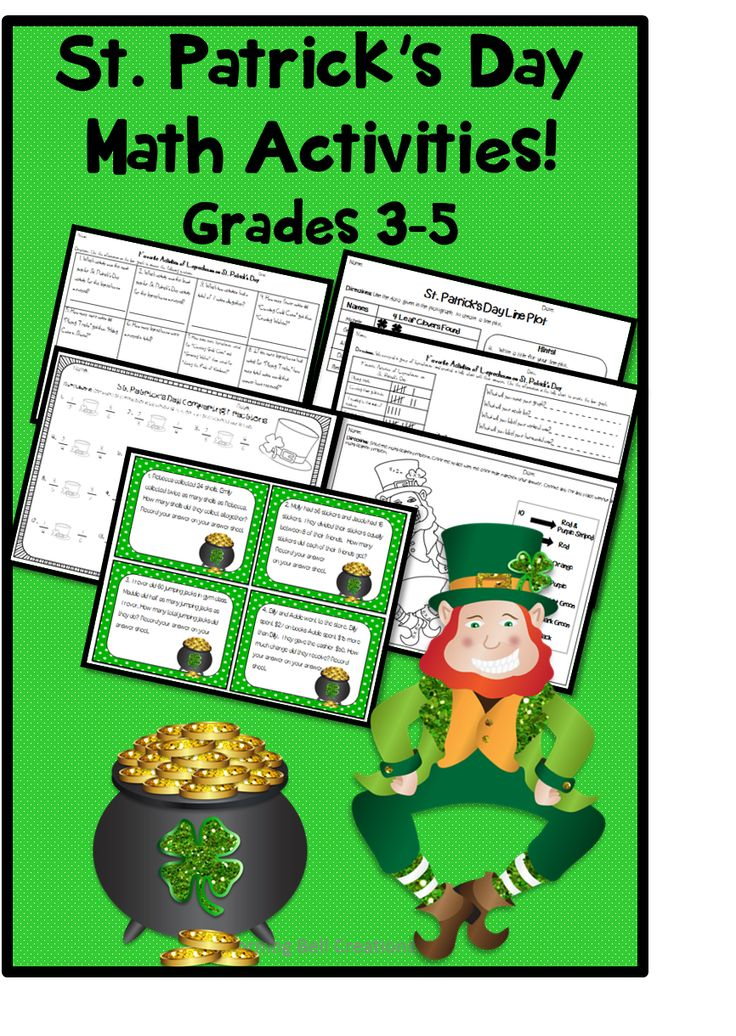 Grades 3 5 St  Patrick  39 s Day Math  Bar Graph   Interpretation  Line Plot  amp  Pictograph  24 Task Cards 2 Step Word Problems  Comparing Fractions  Multiplication Facts Color by Number