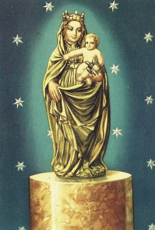 Nuestra Señora del Pilar  A holy card of the miraculous statue of Our Lady of the Pillar in Zaragoza, Spain