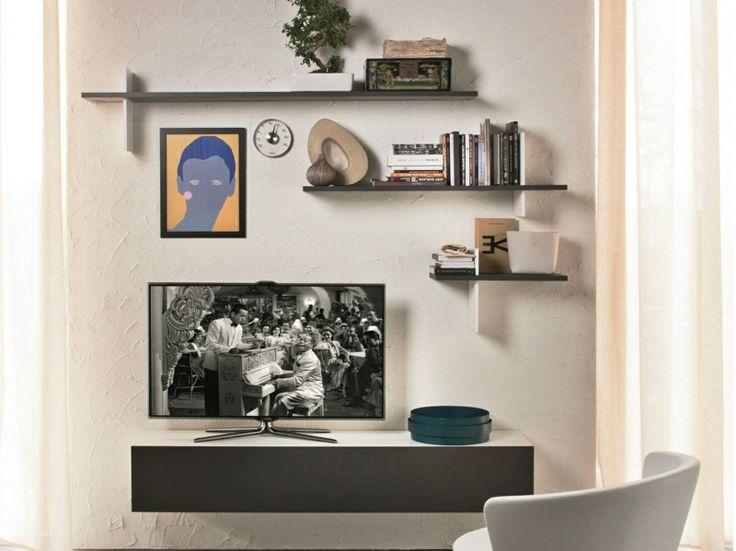 Wall shelves above TV