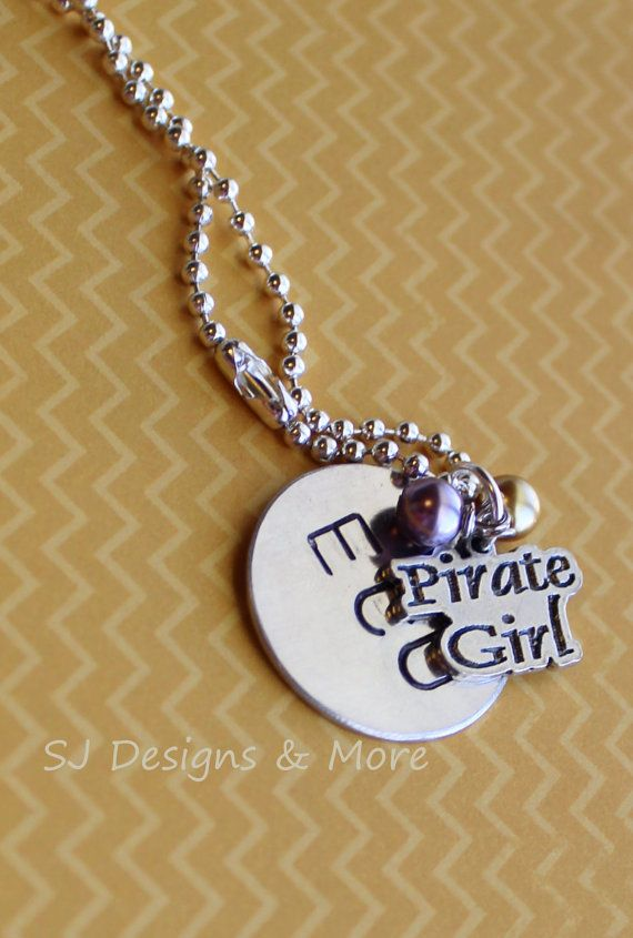 Hand stamped 'ECU' pendant with 'Pirate Girl' by SJDesignsandMore, $10.00