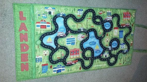 Roll up take along car play mat / play road race track