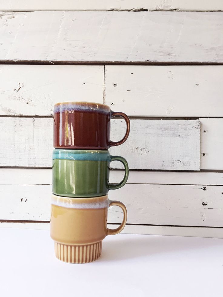 Vintage ceramic mugs | green brown | tea mugs | soup mug by LeroyBrownFurnishing on Etsy