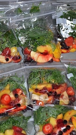 Buy produce in bulk, wash it, chop it, freeze individual servings for smoothies. GENIUS!