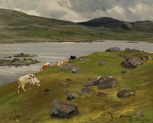 Christian Skredsvig (1854-1924): Kyr ved fjellvann, 1896