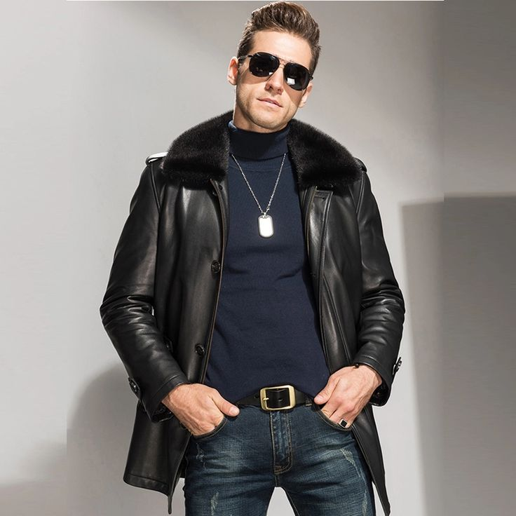 $1048   Men's Mink Fur Lined Lambskin Jacket Luxury Genuine Fur Coat For Men Winter Parka Long Coat