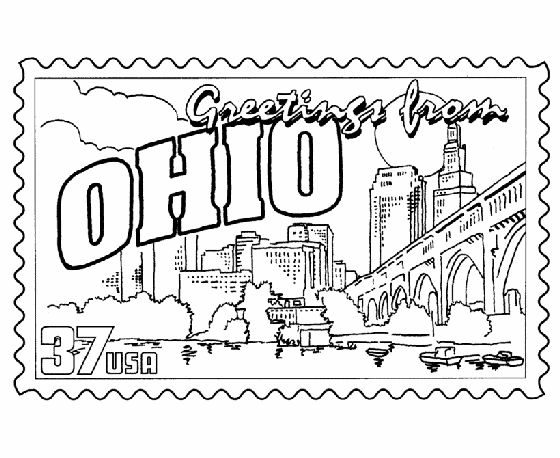 ohio postage stamp coloring page.