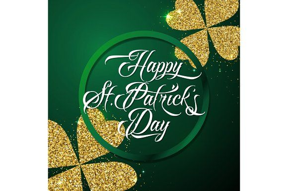 Vector illustration of happy saint Patricks day greeting poster by Zaie on @creativemarket