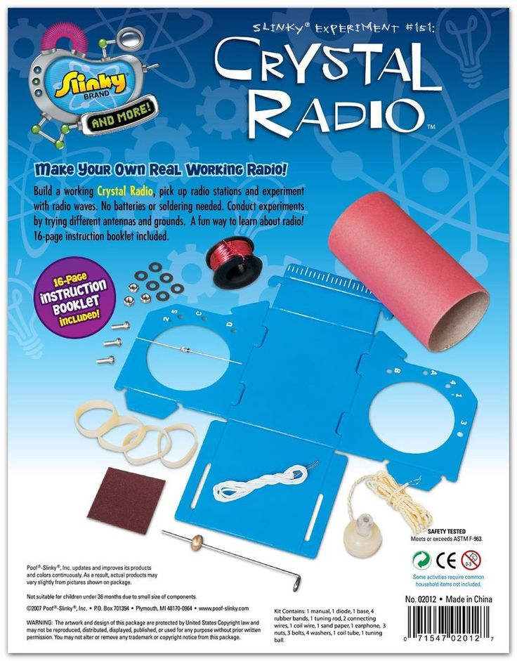 Kids can create their own mini radio with the MiniLabs' Poof Slinky Crystal Radio Kit. See your kid learn science basics by conducting various experiments with antennas and other tools provided in this kit. He/she can build a working radio, pick up radio stations, and experiment with radio waves.