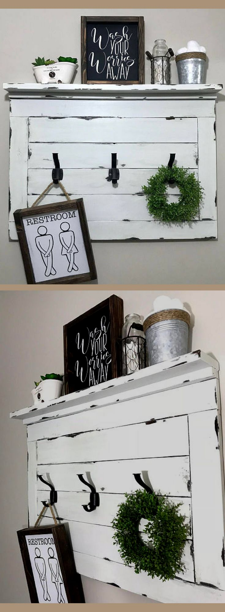 My walls need this shelf! Love the shiplap look and the functional-ness of it! Great for bathroom, living room, mudroom, any room really! Shelf with hooks. Farmhouse style Shelf with Hooks. Rustic shelf. Coat rack. Entryway coat rack. Farmhouse wall decor. Decorative shelf #ad