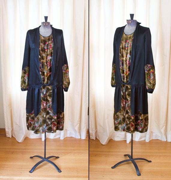 kleding van de jaren 1920 / / Art Deco Burnout fluweel en Black Silk Dress