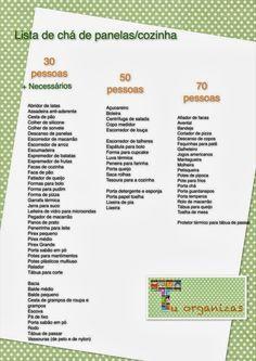 Tu Organizas: Lista de chá de panelas (chá de cozinha)