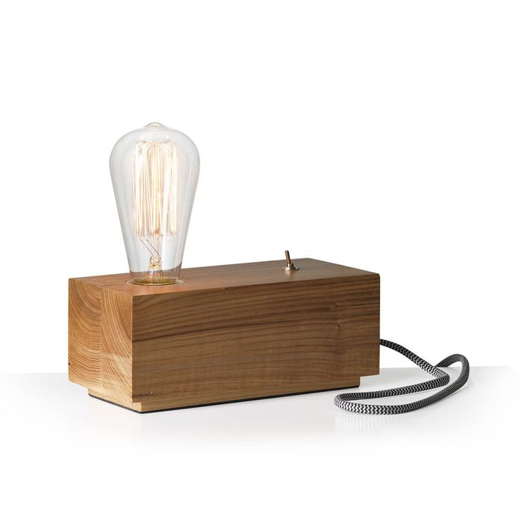 Wood Block Table Lamp B&W ZigZag Cable – Black Mango