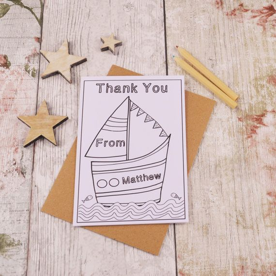 Sail Boat Colouring in Thank You Card Children's by MakeWithMum