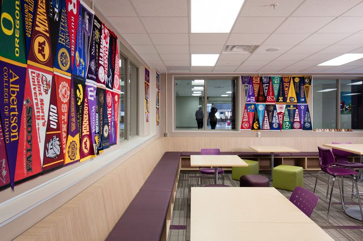Minneapolis Southwest High School Career Center...architecture, design, tables, chairs, lighting