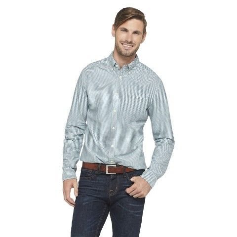 Merona Men's Gingham Cotton Shirt - Teal