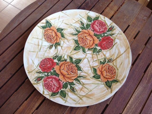 bamboo plate- decoupage