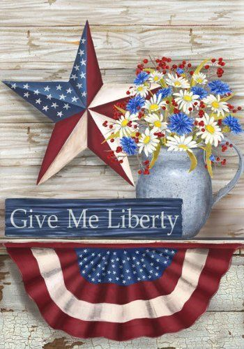 """Give Me Liberty Large Flag by Custom Decor. $7.00. 100% Polyester fabric stands up to the weather and is mildew and fade resistant.. Original Artwork is reproduced on 300 denier fabric for Finer Quality Reproduction. Art for your home that Captivates, Delights & Inspires! This decorative flag is approximately 28"""" x 40"""" and has an opening at top that fits on standard large flag holders. Custom Décor flags are of the highest qCustom Décor, Inc. is the #1 producer of AMERICAN MAD..."""