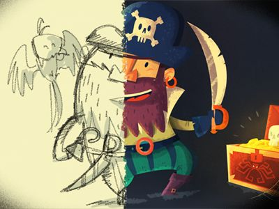 Pirate: from concept to final illustration by Ilias Sounas